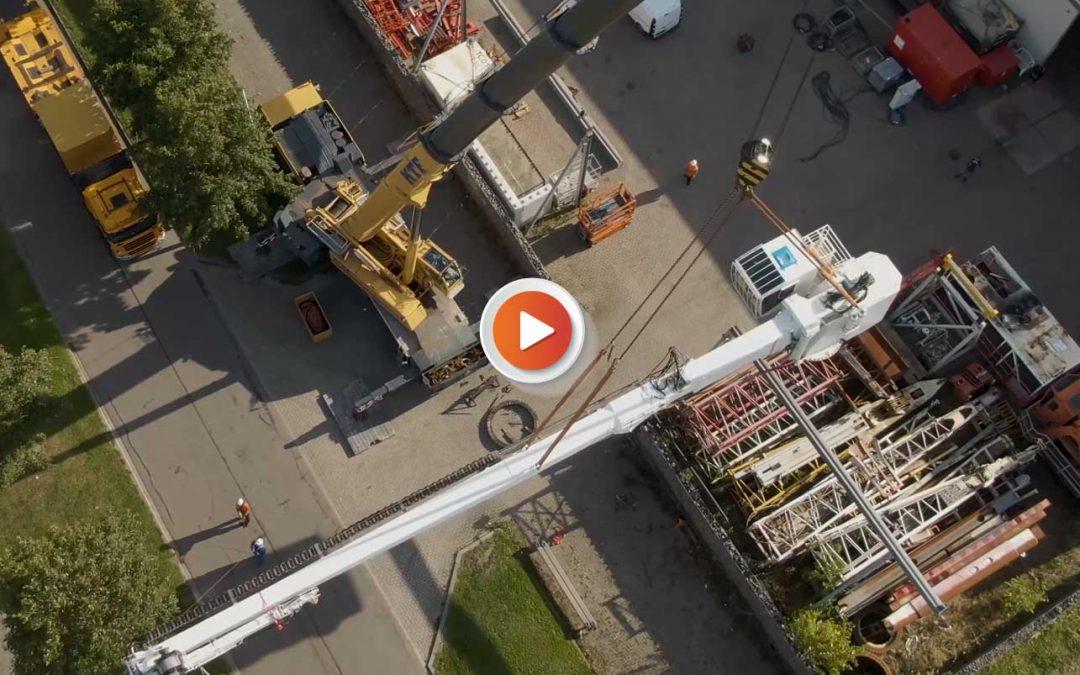 Drone shots offshore crane boom modification